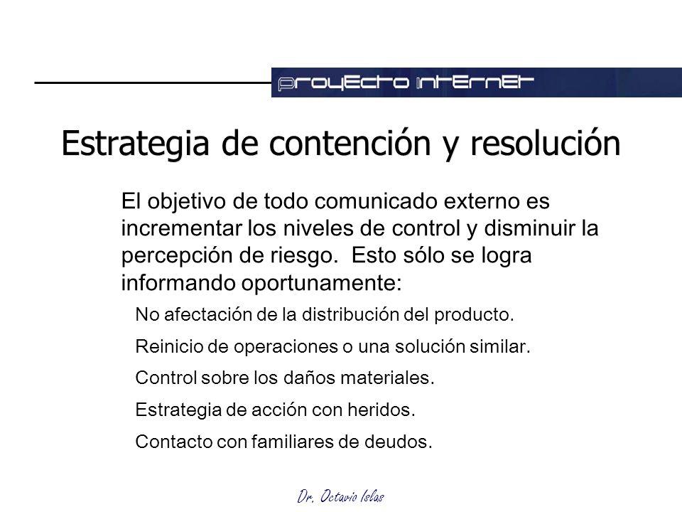 Dr. Octavio Islas Estrategia de contención y resolución El objetivo de todo comunicado externo es incrementar los niveles de control y disminuir la pe