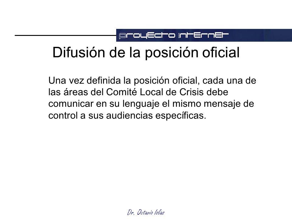 Dr. Octavio Islas Difusión de la posición oficial Una vez definida la posición oficial, cada una de las áreas del Comité Local de Crisis debe comunica