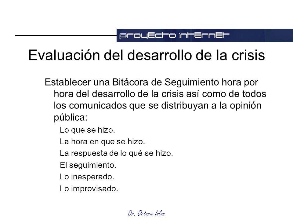 Dr. Octavio Islas Evaluación del desarrollo de la crisis Establecer una Bitácora de Seguimiento hora por hora del desarrollo de la crisis así como de