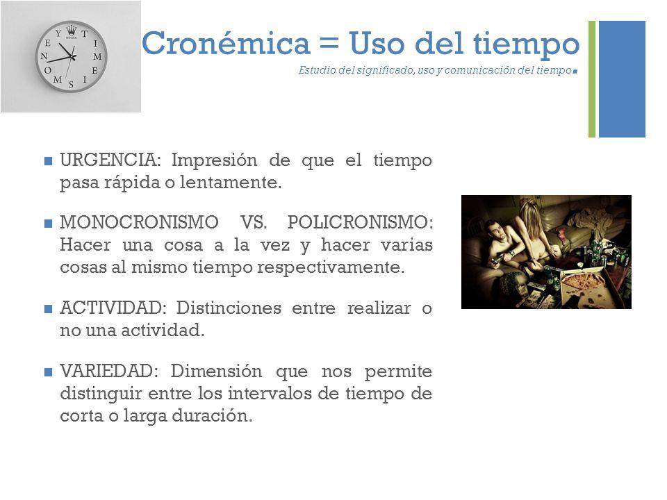 + Cronémica = Uso del tiempo Estudio del significado, uso y comunicación del tiempo. URGENCIA: Impresión de que el tiempo pasa rápida o lentamente. MO