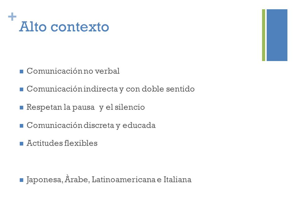 + Alto contexto Comunicación no verbal Comunicación indirecta y con doble sentido Respetan la pausa y el silencio Comunicación discreta y educada Acti