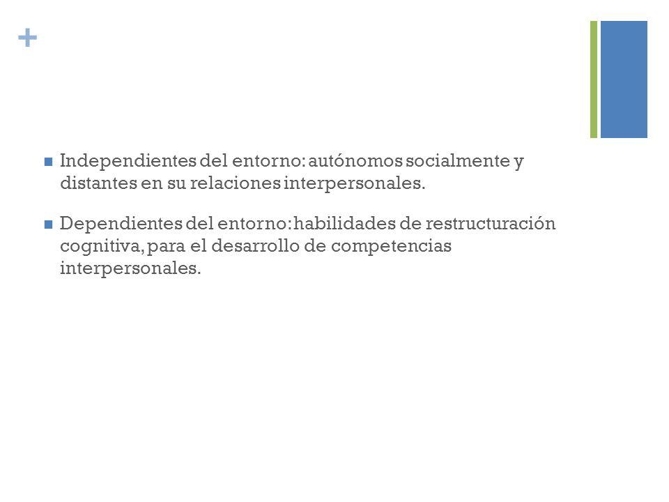 + Independientes del entorno: autónomos socialmente y distantes en su relaciones interpersonales. Dependientes del entorno: habilidades de restructura