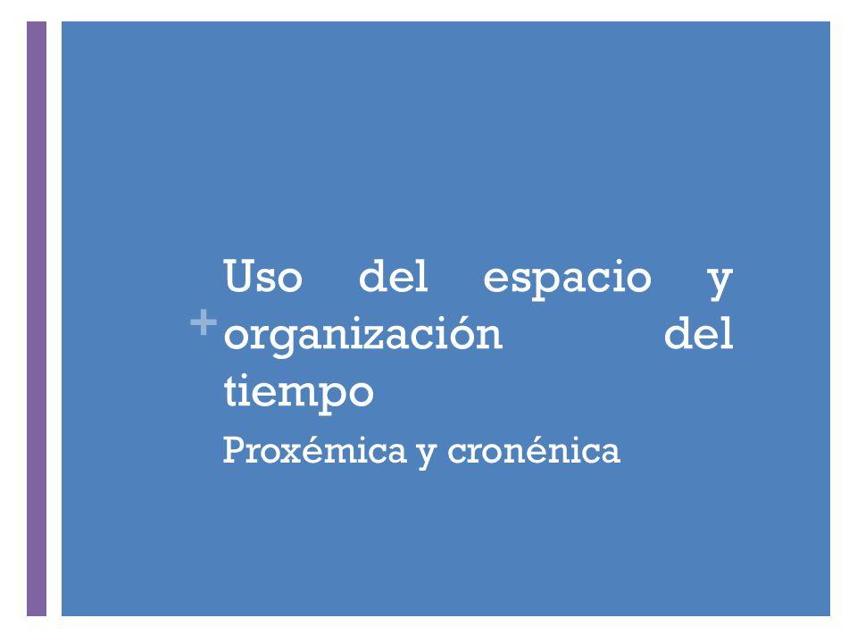+ Uso del espacio y organización del tiempo Proxémica y cronénica
