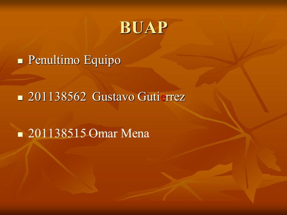 BUAP Penultimo Equipo Penultimo Equipo 201138562 Gustavo Gutierrez 201138562 Gustavo Gutierrez 201138515 Omar Mena