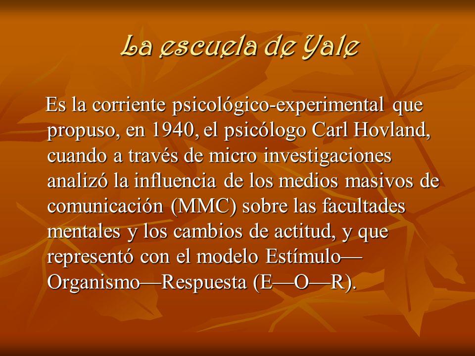 La escuela de Yale Es la corriente psicológico-experimental que propuso, en 1940, el psicólogo Carl Hovland, cuando a través de micro investigaciones