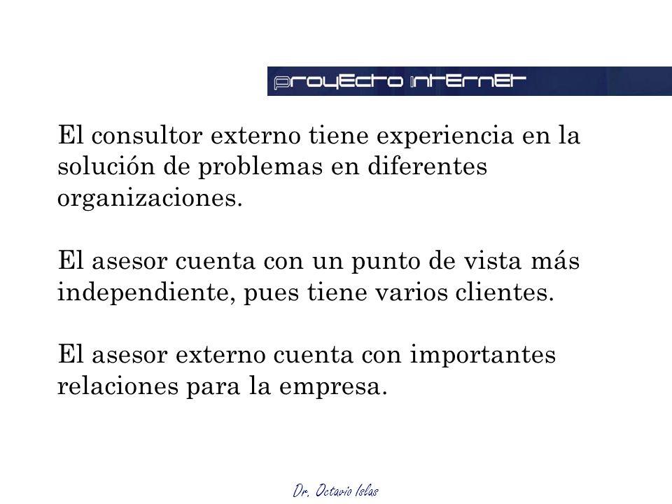 Dr. Octavio Islas El consultor externo tiene experiencia en la solución de problemas en diferentes organizaciones. El asesor cuenta con un punto de vi