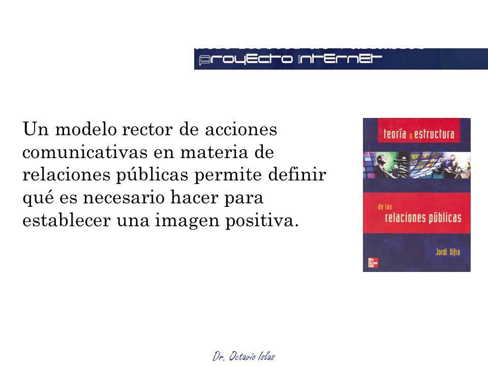 Dr. Octavio Islas Modelo Rector de Variables Un modelo rector de acciones comunicativas en materia de relaciones públicas permite definir qué es neces