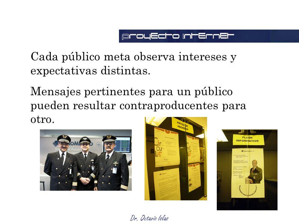 Dr. Octavio Islas Cada público meta observa intereses y expectativas distintas. Mensajes pertinentes para un público pueden resultar contraproducentes