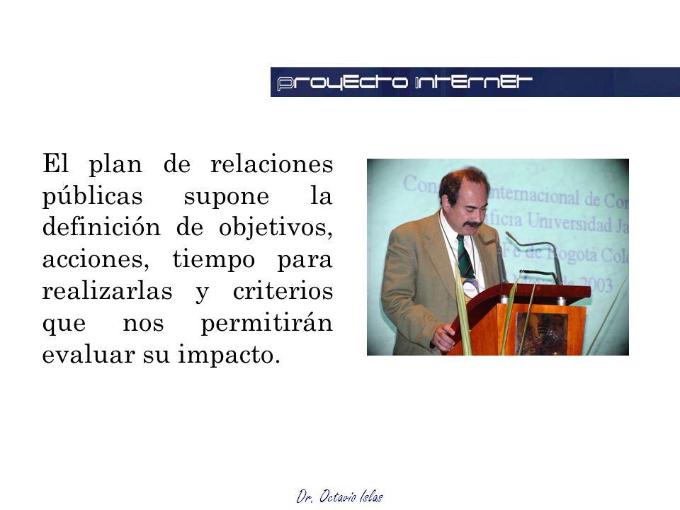 Dr. Octavio Islas El plan de relaciones públicas supone la definición de objetivos, acciones, tiempo para realizarlas y criterios que nos permitirán e