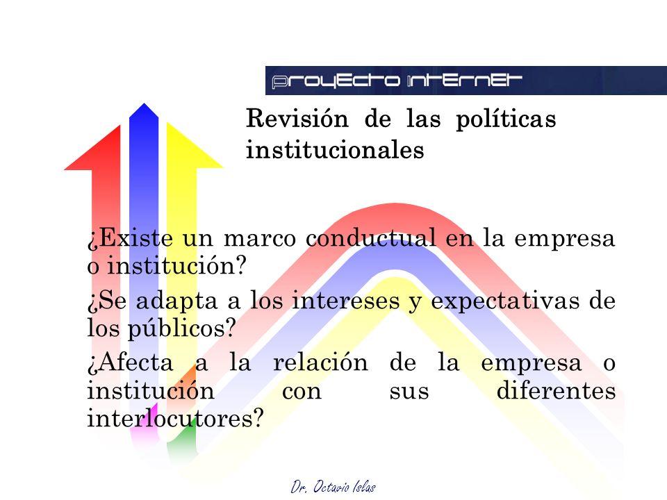 Dr. Octavio Islas Revisión de las políticas institucionales ¿Existe un marco conductual en la empresa o institución? ¿Se adapta a los intereses y expe