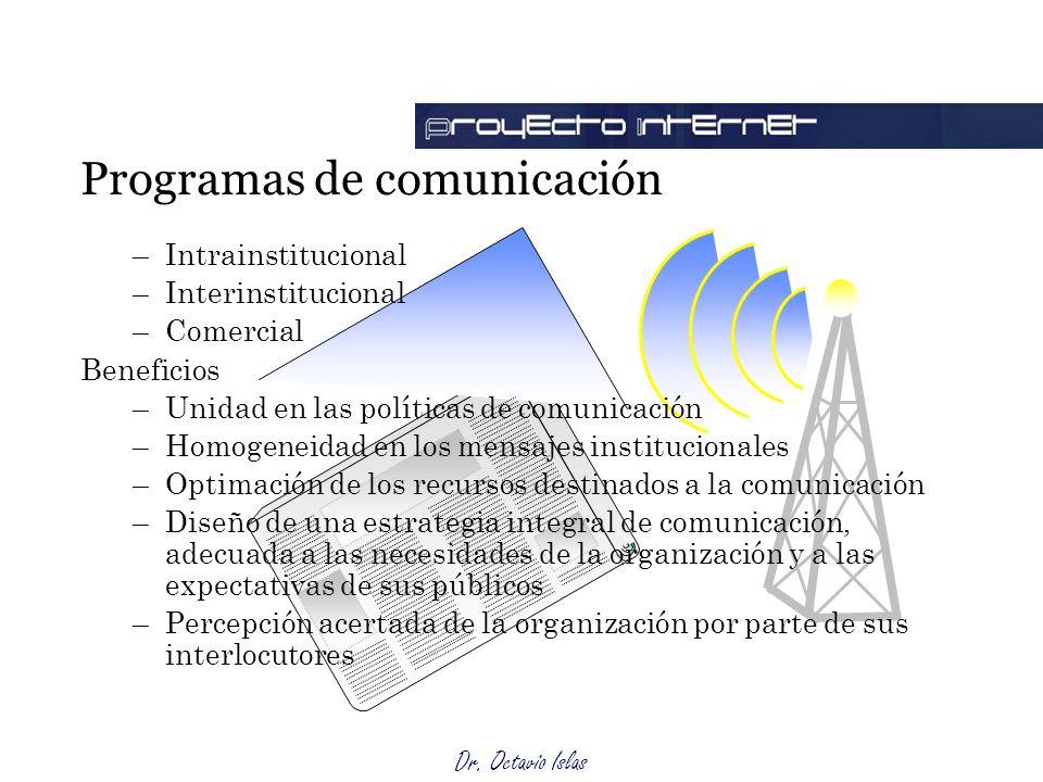 Dr. Octavio Islas –Intrainstitucional –Interinstitucional –Comercial Beneficios –Unidad en las políticas de comunicación –Homogeneidad en los mensajes