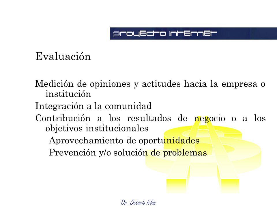 Dr. Octavio Islas Coparticipación con las diferentes audiencias Evaluación Medición de opiniones y actitudes hacia la empresa o institución Integració