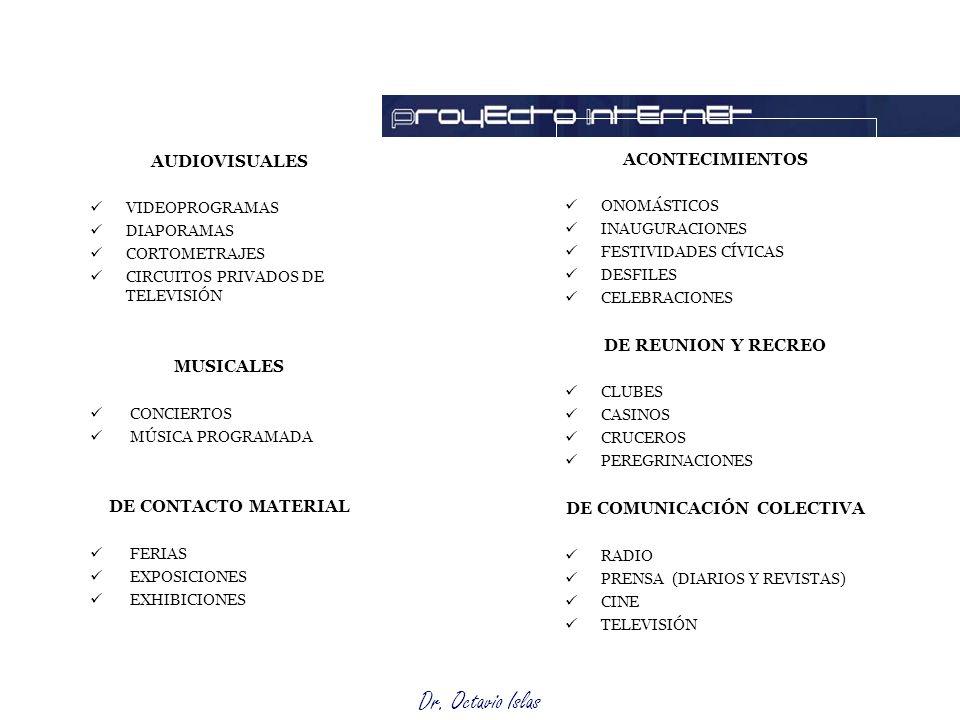 Dr. Octavio Islas AUDIOVISUALES VIDEOPROGRAMAS DIAPORAMAS CORTOMETRAJES CIRCUITOS PRIVADOS DE TELEVISIÓN MUSICALES CONCIERTOS MÚSICA PROGRAMADA DE CON