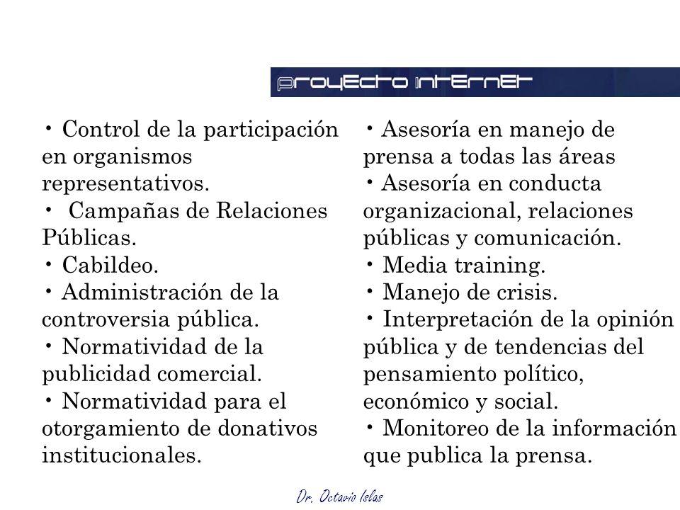 Dr. Octavio Islas Control de la participación en organismos representativos. Campañas de Relaciones Públicas. Cabildeo. Administración de la controver