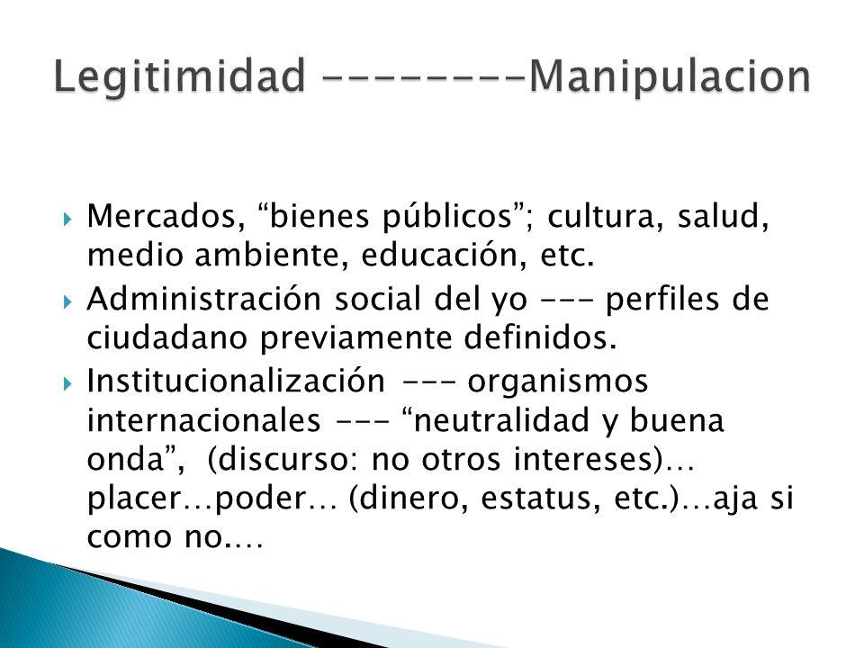 Mercados, bienes públicos; cultura, salud, medio ambiente, educación, etc. Administración social del yo --- perfiles de ciudadano previamente definido