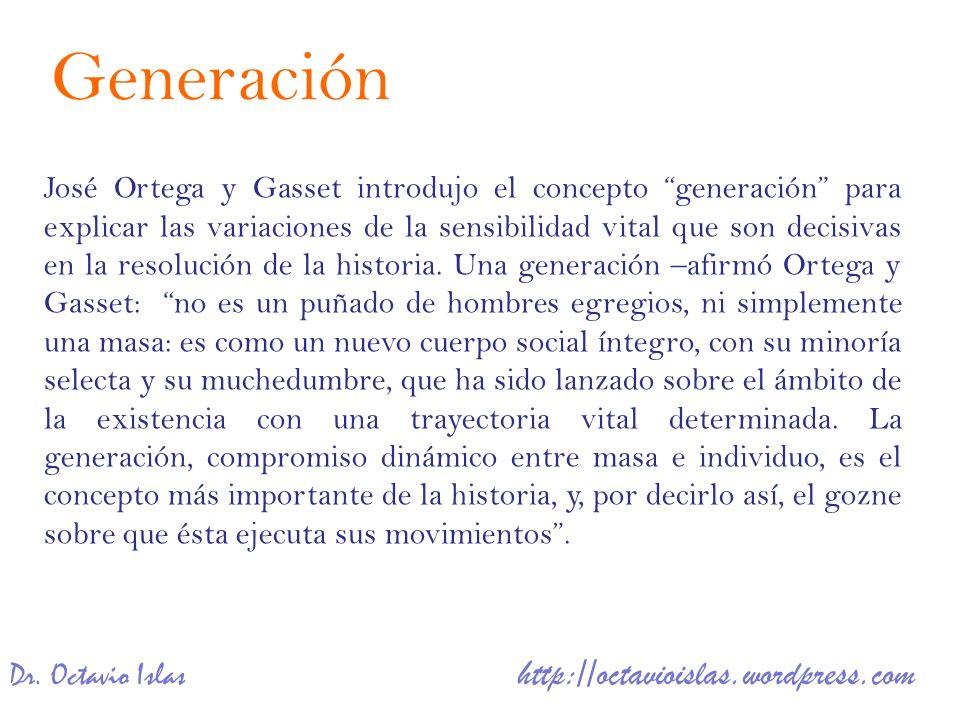 Dr. Octavio Islas http://octavioislas.wordpress.com José Ortega y Gasset introdujo el concepto generación para explicar las variaciones de la sensibil