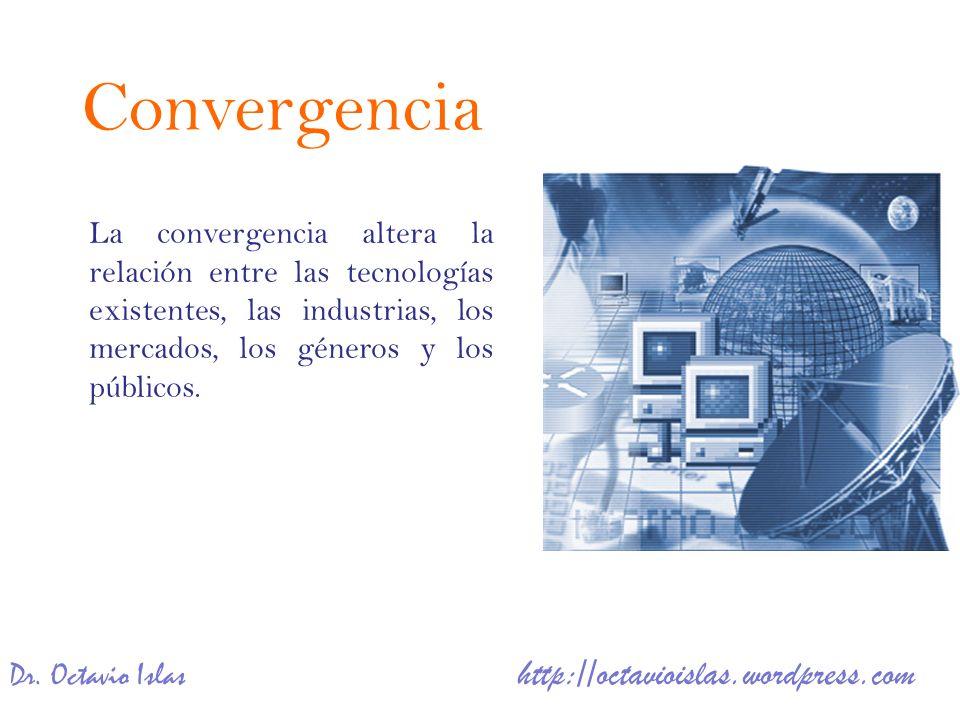 Dr. Octavio Islas http://octavioislas.wordpress.com La convergencia altera la relación entre las tecnologías existentes, las industrias, los mercados,