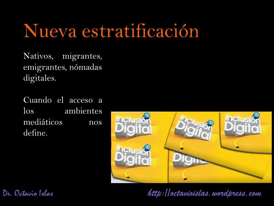 Dr. Octavio Islas http://octavioislas.wordpress.com Nativos, migrantes, emigrantes, nómadas digitales. Cuando el acceso a los ambientes mediáticos nos