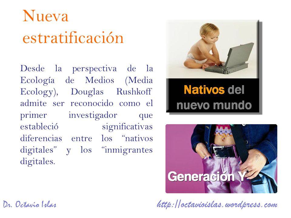Dr. Octavio Islas http://octavioislas.wordpress.com Desde la perspectiva de la Ecología de Medios (Media Ecology), Douglas Rushkoff admite ser reconoc