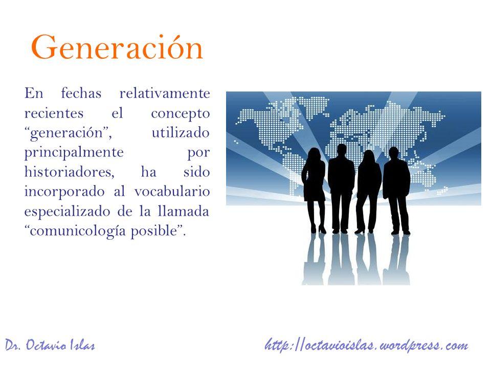 En fechas relativamente recientes el conceptogeneración, utilizado principalmente por historiadores, ha sido incorporado al vocabulario especializado