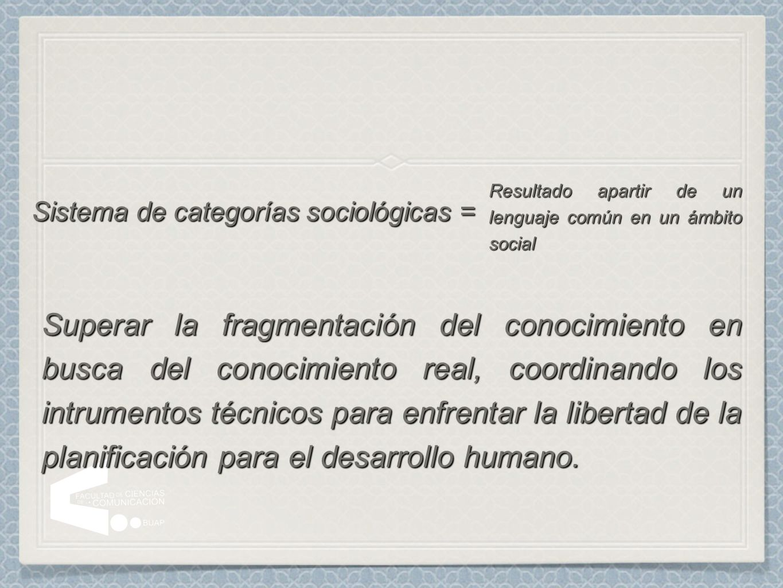 Sistema de categorías sociológicas = Resultado apartir de un lenguaje común en un ámbito social Superar la fragmentación del conocimiento en busca del
