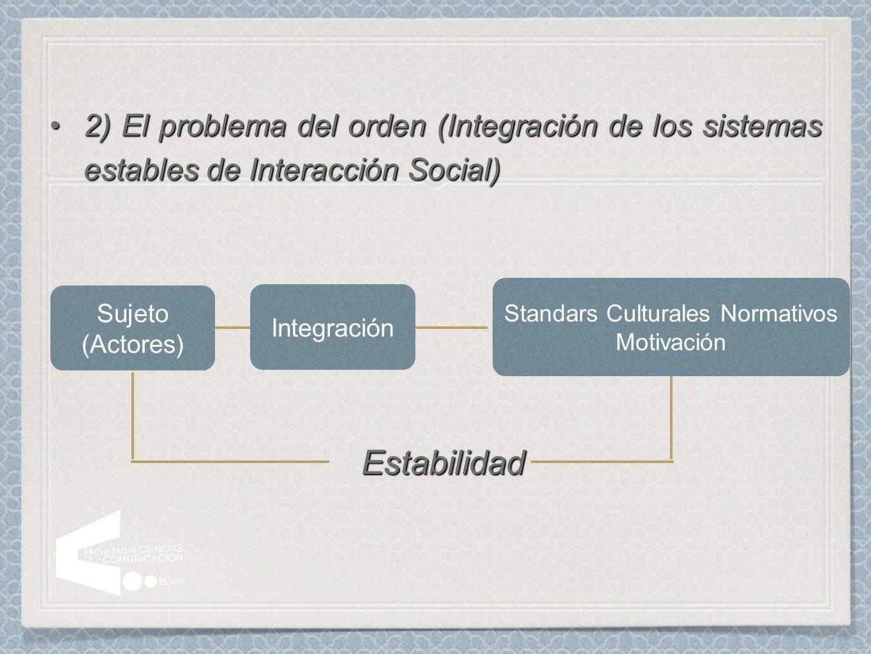 2) El problema del orden (Integración de los sistemas estables de Interacción Social)2) El problema del orden (Integración de los sistemas estables de