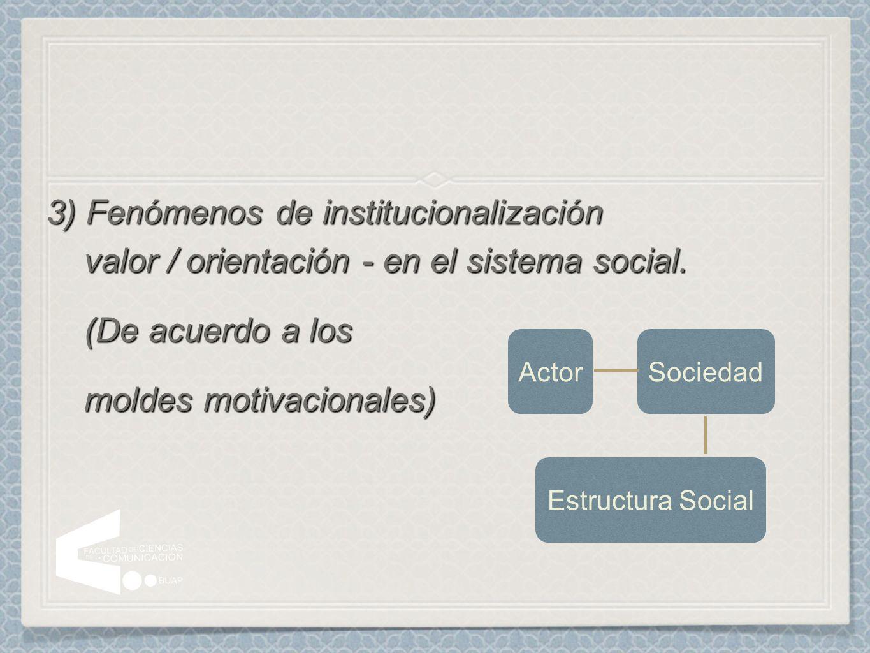 3) Fenómenos de institucionalización valor / orientación - en el sistema social. (De acuerdo a los (De acuerdo a los moldes motivacionales) moldes mot