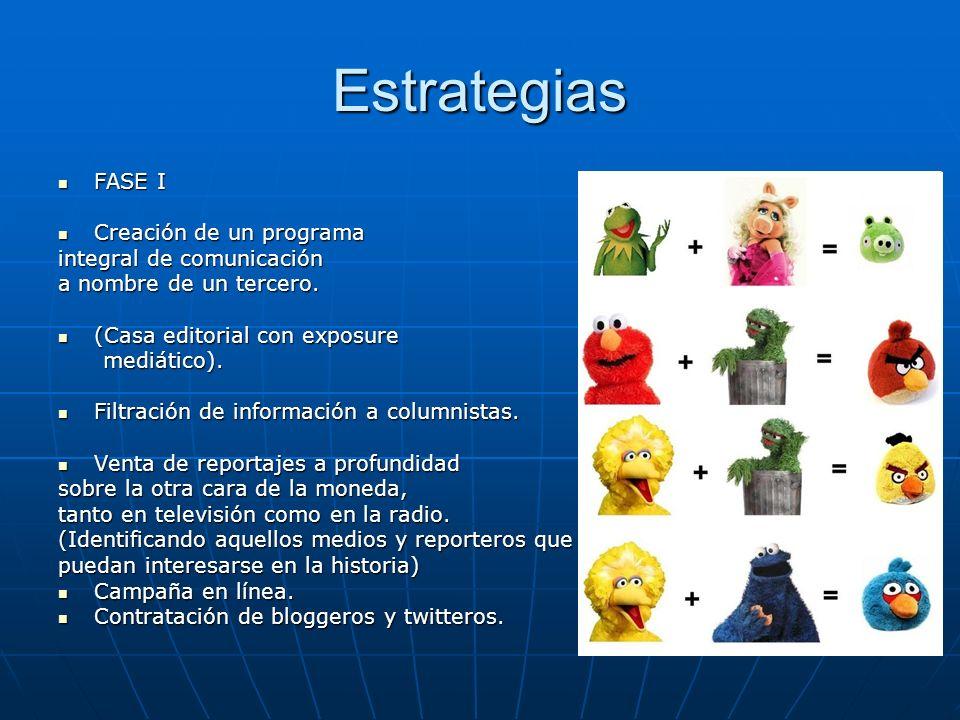 Estrategias FASE I FASE I Creación de un programa Creación de un programa integral de comunicación a nombre de un tercero. (Casa editorial con exposur