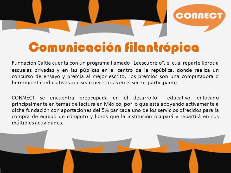 Comunicación filantrópica Fundación Caltia cuenta con un programa llamado Leescubrelo, el cual reparte libros a escuelas privadas y en las públicas en el centro de la república, donde realiza un concurso de ensayo y premia al mejor escrito.