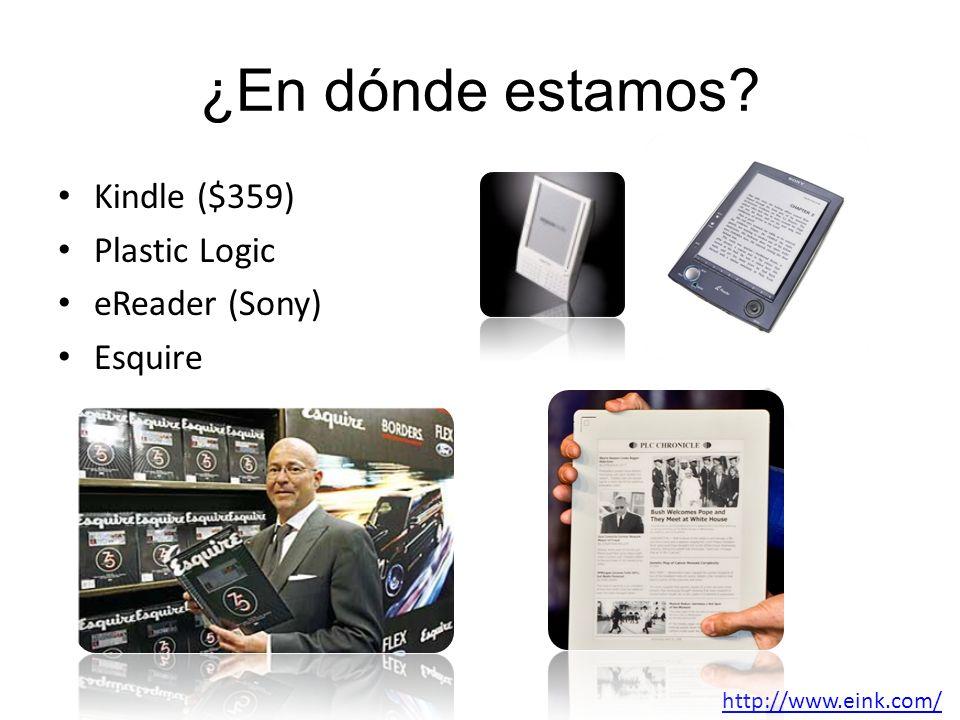 ¿En dónde estamos? Kindle ($359) Plastic Logic eReader (Sony) Esquire http://www.eink.com/