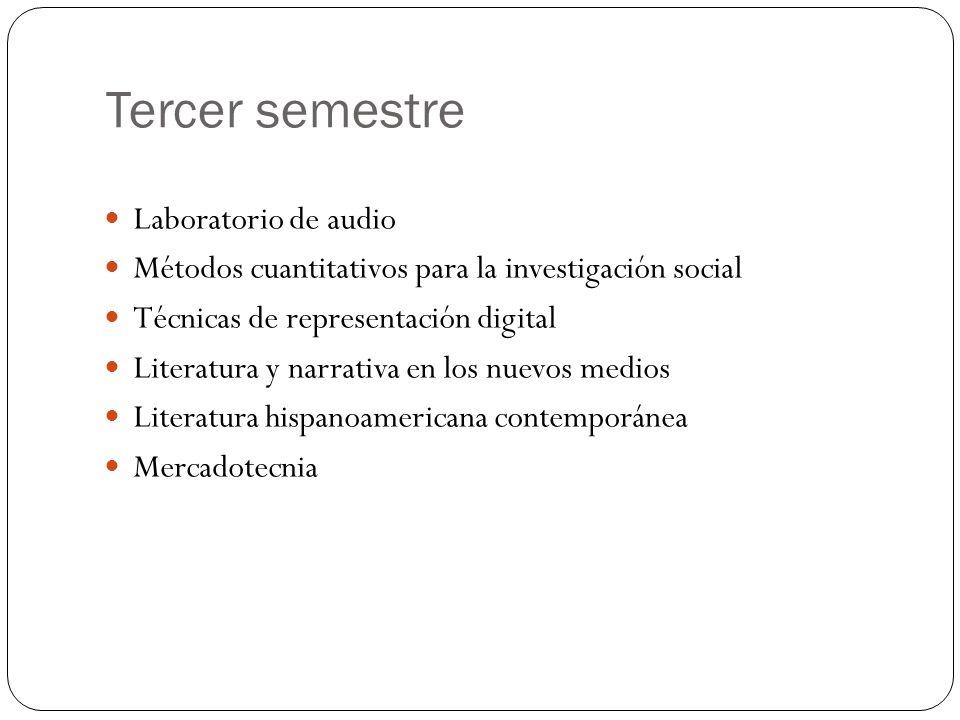 Tercer semestre Laboratorio de audio Métodos cuantitativos para la investigación social Técnicas de representación digital Literatura y narrativa en los nuevos medios Literatura hispanoamericana contemporánea Mercadotecnia
