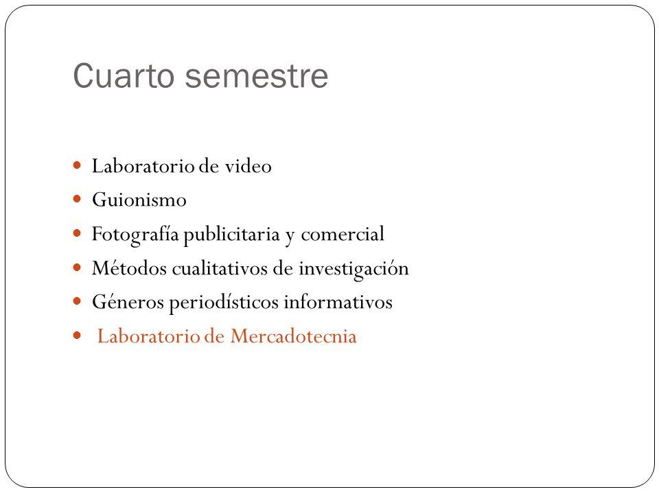 Cuarto semestre Laboratorio de video Guionismo Fotografía publicitaria y comercial Métodos cualitativos de investigación Géneros periodísticos informativos Laboratorio de Mercadotecnia