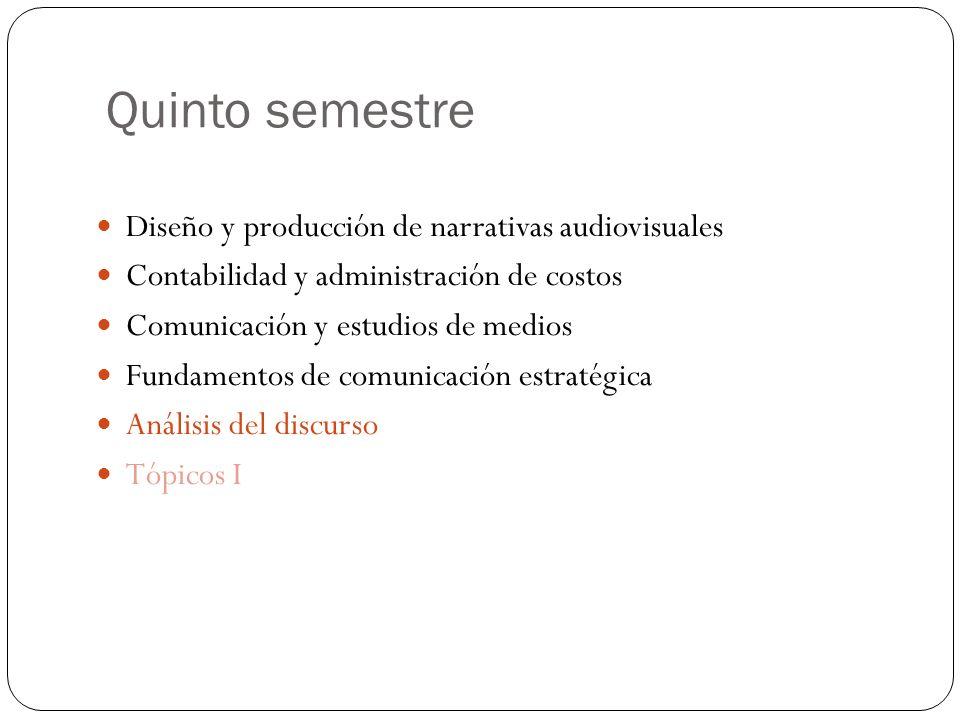 Quinto semestre Diseño y producción de narrativas audiovisuales Contabilidad y administración de costos Comunicación y estudios de medios Fundamentos de comunicación estratégica Análisis del discurso Tópicos I