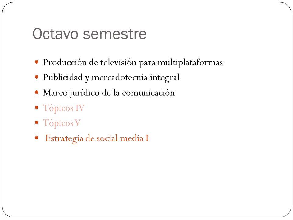 Octavo semestre Producción de televisión para multiplataformas Publicidad y mercadotecnia integral Marco jurídico de la comunicación Tópicos IV Tópicos V Estrategia de social media I