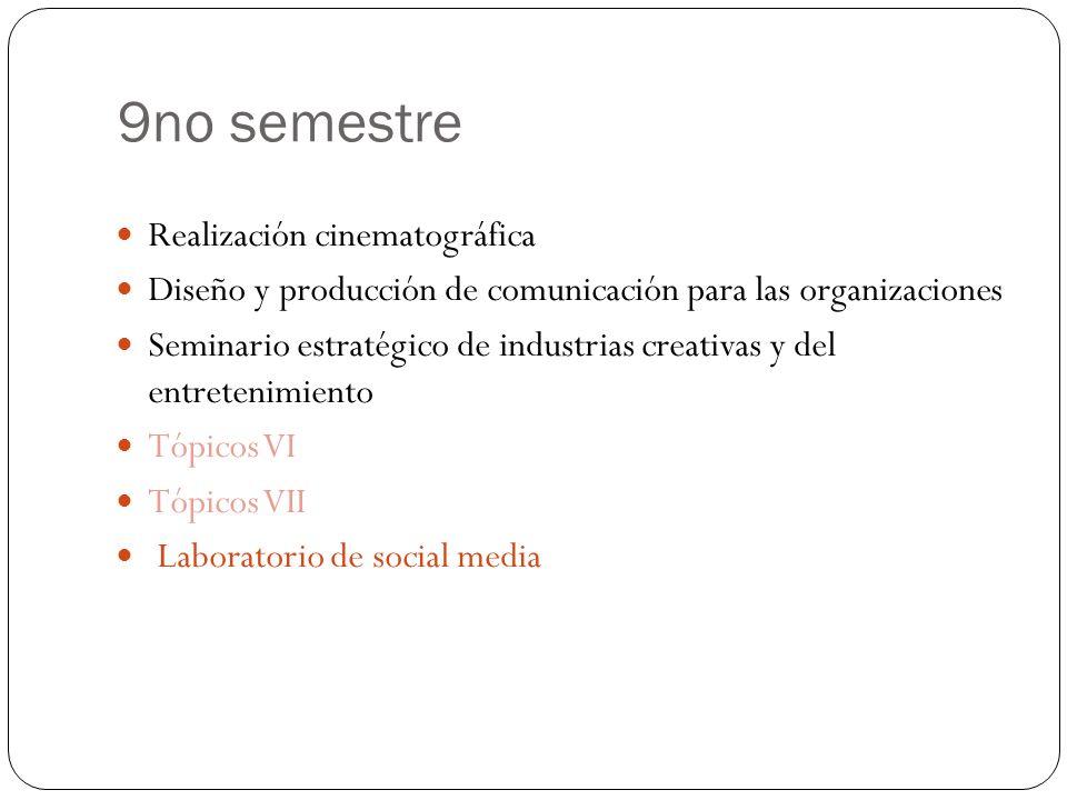 9no semestre Realización cinematográfica Diseño y producción de comunicación para las organizaciones Seminario estratégico de industrias creativas y del entretenimiento Tópicos VI Tópicos VII Laboratorio de social media