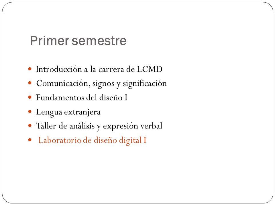 Primer semestre Introducción a la carrera de LCMD Comunicación, signos y significación Fundamentos del diseño I Lengua extranjera Taller de análisis y expresión verbal Laboratorio de diseño digital I