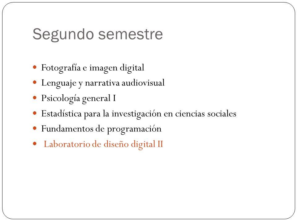 Segundo semestre Fotografía e imagen digital Lenguaje y narrativa audiovisual Psicología general I Estadística para la investigación en ciencias sociales Fundamentos de programación Laboratorio de diseño digital II
