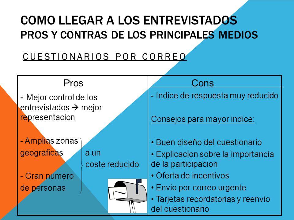 COMO LLEGAR A LOS ENTREVISTADOS PROS Y CONTRAS DE LOS PRINCIPALES MEDIOS CUESTIONARIOS POR CORREO Pros - Mejor control de los entrevistados mejor repr