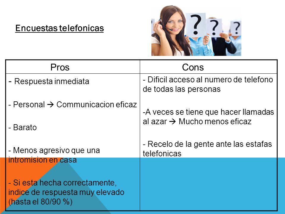 Encuestas telefonicas Pros - Respuesta inmediata - Personal Communicacion eficaz - Barato - Menos agresivo que una intromision en casa - Si esta hecha