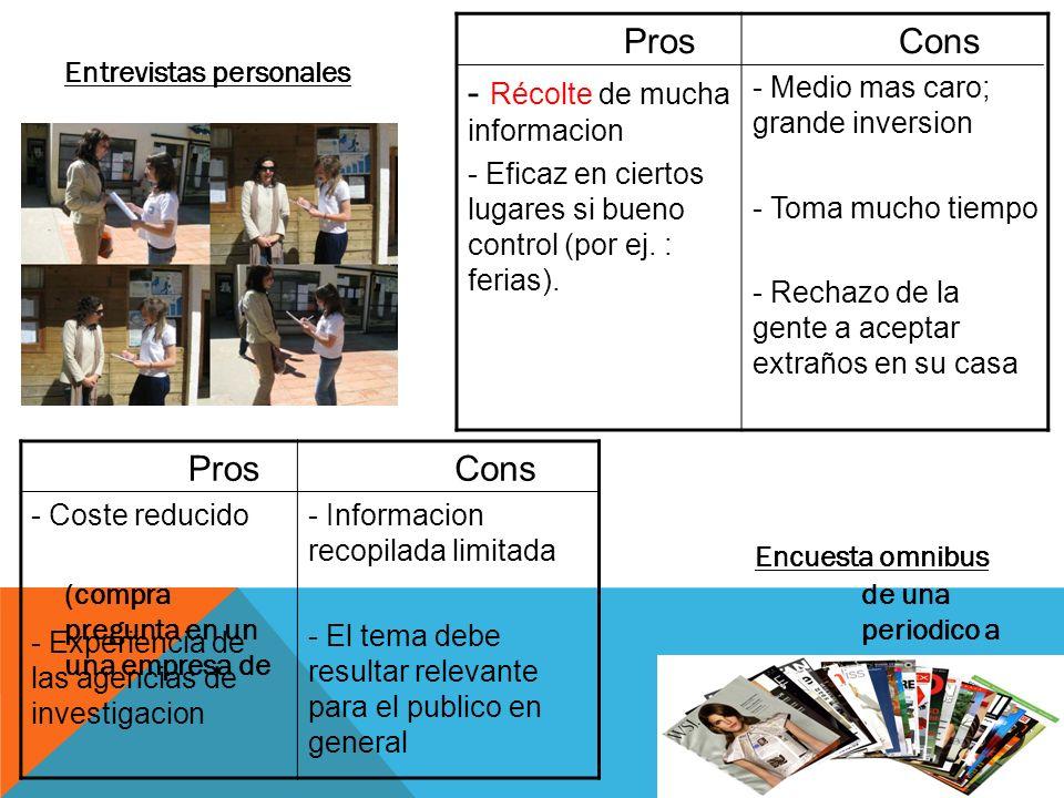 Entrevistas personales Encuesta omnibus (compra de una pregunta en un periodico a una empresa de investigacion) Pros - Récolte de mucha informacion -