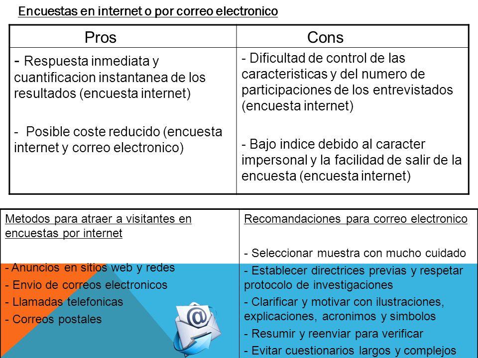 Encuestas en internet o por correo electronico Pros - Respuesta inmediata y cuantificacion instantanea de los resultados (encuesta internet) - Posible