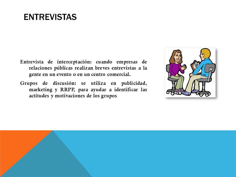 ENTREVISTAS Entrevista de interceptación: cuando empresas de relaciones públicas realizan breves entrevistas a la gente en un evento o en un centro co