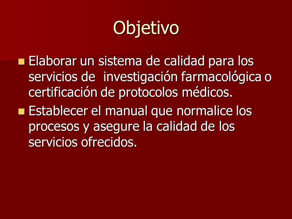Objetivo Elaborar un sistema de calidad para los servicios de investigación farmacológica o certificación de protocolos médicos.