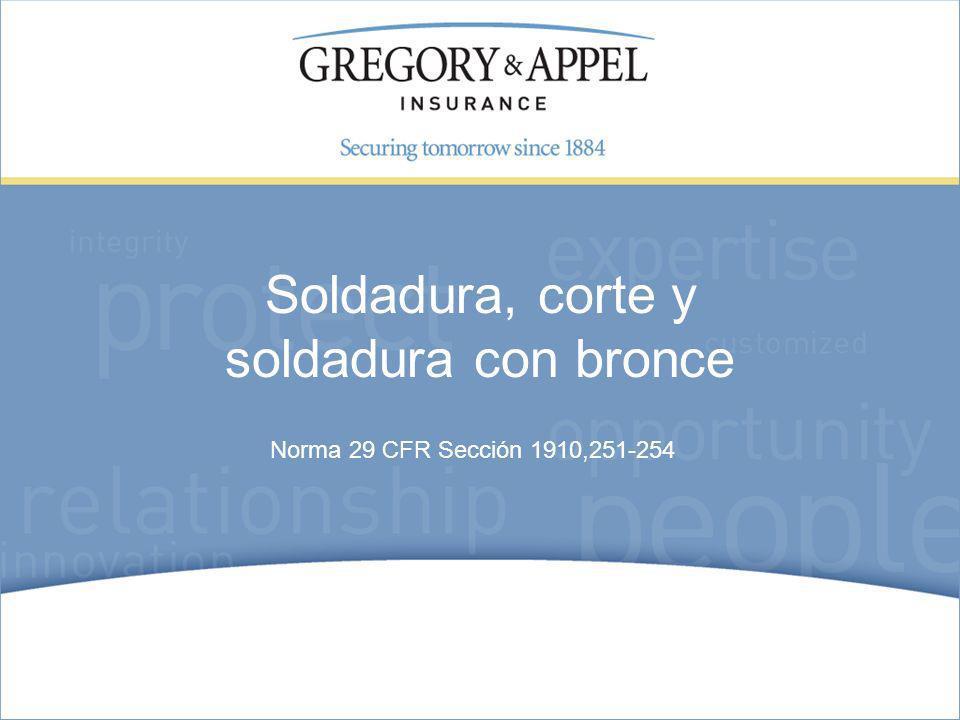 Norma 29 CFR Sección 1910,251-254 Soldadura, corte y soldadura con bronce