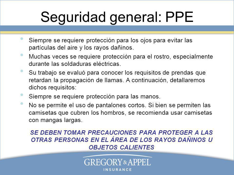 Seguridad general: PPE Siempre se requiere protección para los ojos para evitar las partículas del aire y los rayos dañinos. Muchas veces se requiere