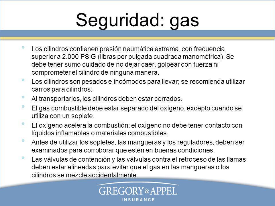 Seguridad: gas Los cilindros contienen presión neumática extrema, con frecuencia, superior a 2.000 PSIG (libras por pulgada cuadrada manométrica). Se