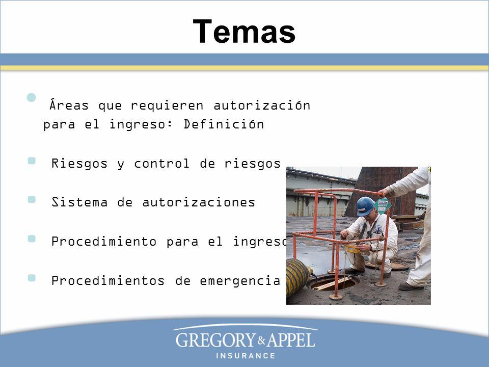 Temas Áreas que requieren autorización para el ingreso: Definición Riesgos y control de riesgos Sistema de autorizaciones Procedimiento para el ingres