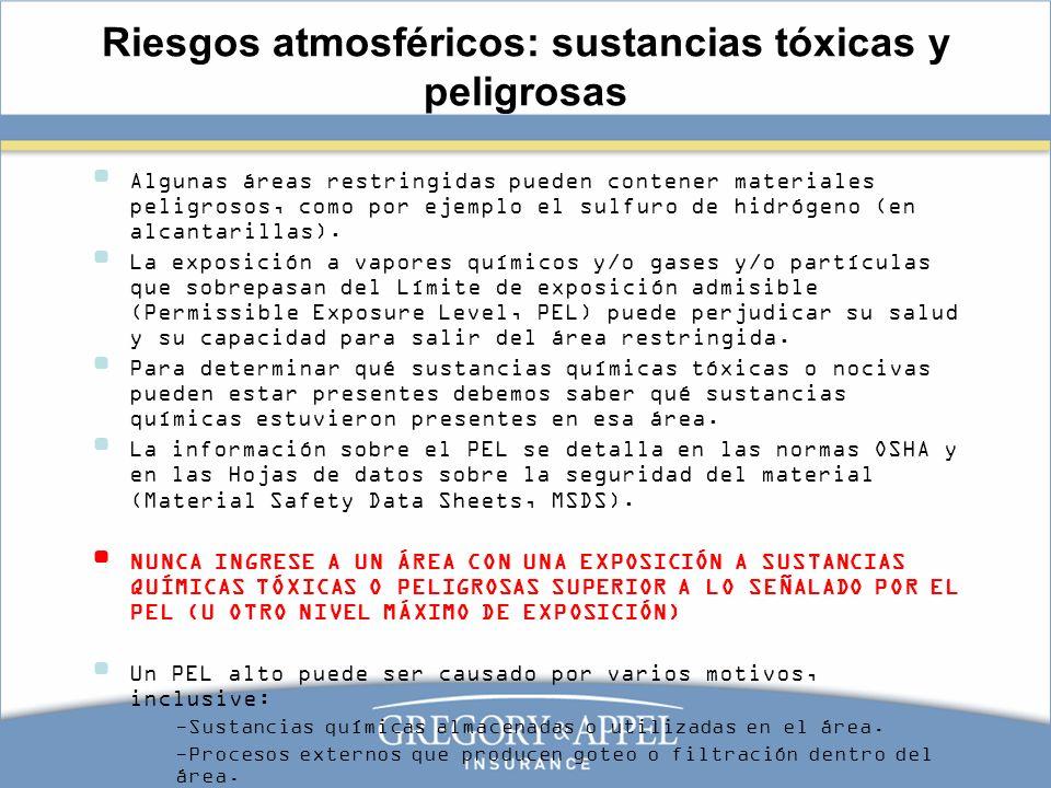 Riesgos atmosféricos: sustancias tóxicas y peligrosas Algunas áreas restringidas pueden contener materiales peligrosos, como por ejemplo el sulfuro de