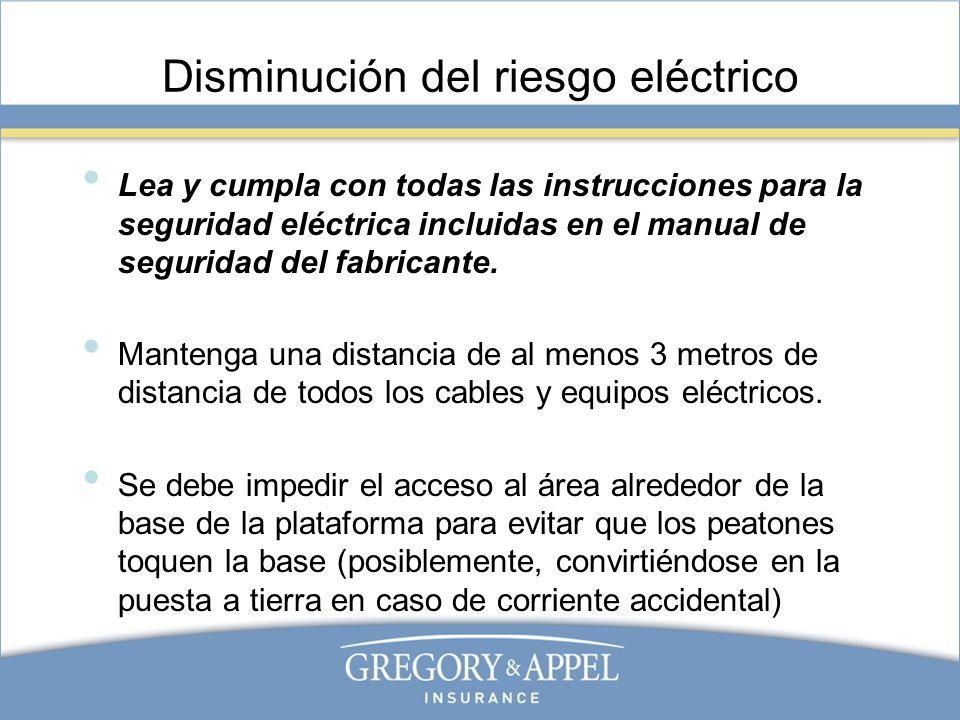 Disminución del riesgo eléctrico Lea y cumpla con todas las instrucciones para la seguridad eléctrica incluidas en el manual de seguridad del fabrican