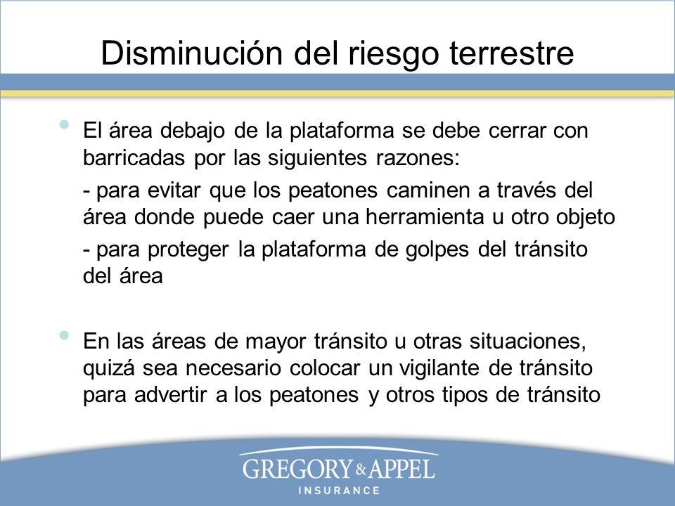 Disminución del riesgo terrestre El área debajo de la plataforma se debe cerrar con barricadas por las siguientes razones: - para evitar que los peato